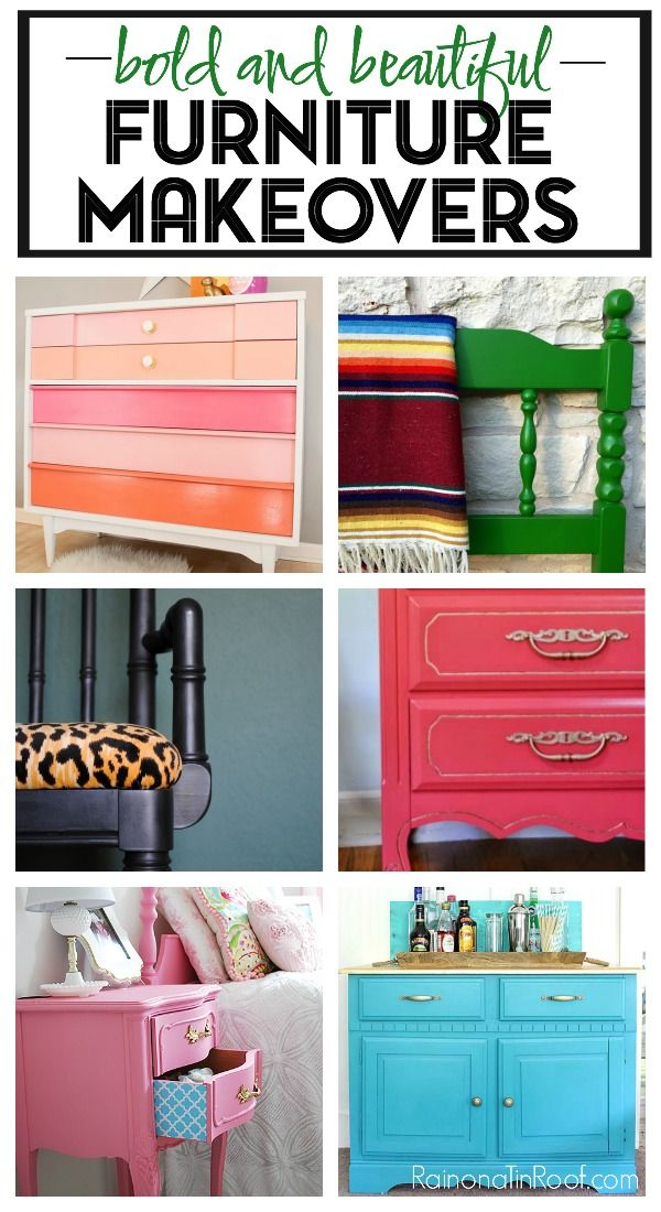 These Bold and Beautiful Furniture Makeovers are exactly that. This article is full of colorful furniture makeovers that are also pretty easy!