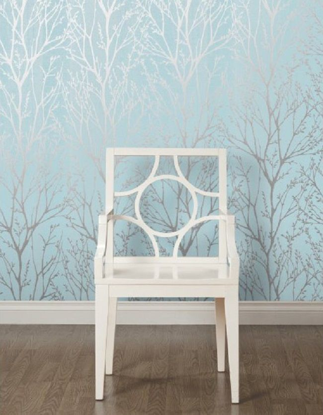 Teal Silver Shimmer Wallpaper by I Love Wallpaper