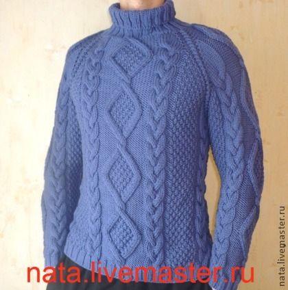 """свитер мужской с косами """"Василек"""" - синий,однотонный,свитер,свитер вязаный"""