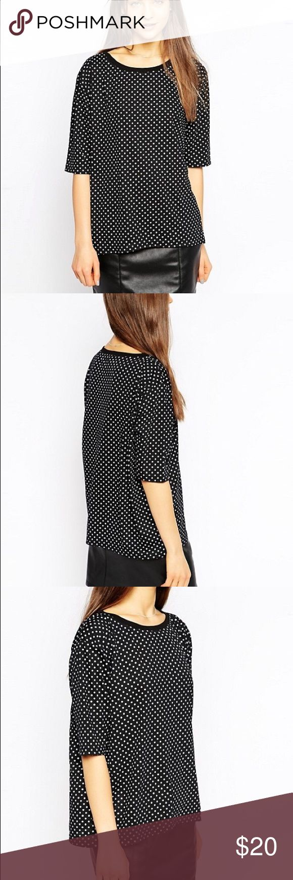 Tired of Tokyo Polka Dot Top! ⚪️⚫️⚪️⚫️ Adorable size Small top from Tired of Tokyo / ASOS. Out of stock everywhere!! Wide neck with elbow-length sleeves. Will also fit a size Medium, but with a different look-- falling to the waist and not as baggy. This top is in great condition. Pictures don't show that the polka dots look more silkscreened and not so uniform. A very cool cut and print for a super mod hipster look. Or Yayoi Kusama Halloween costume. Asos Tops Tees - Short Sleeve