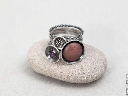 Кольца ручной работы. Ярмарка Мастеров - ручная работа. Купить Набор колец из серебра, дерева (красное) и аметиста. Handmade. Серебро