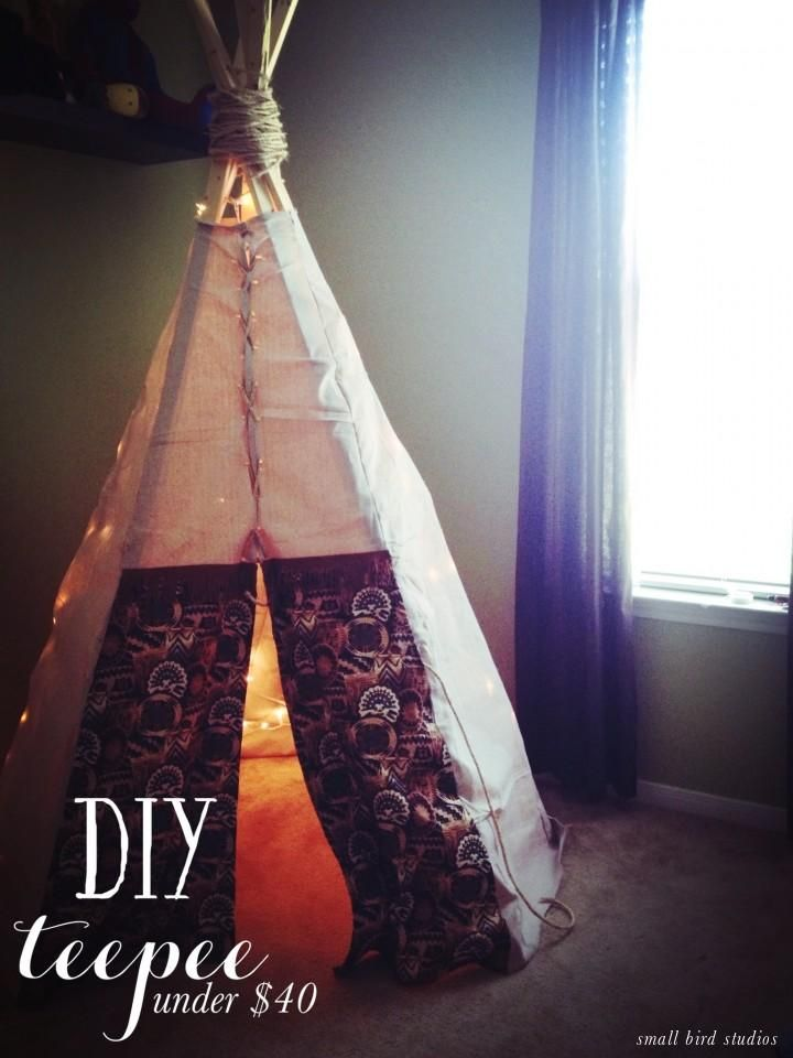 DIY teepee // under $40!--Really great step by step instructions with photographs!