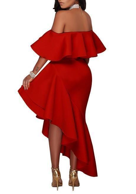 68ab5c8172df Red Ruffle Irregular Off Shoulder Backless High-Low Banquet Elegant Maxi  Dress