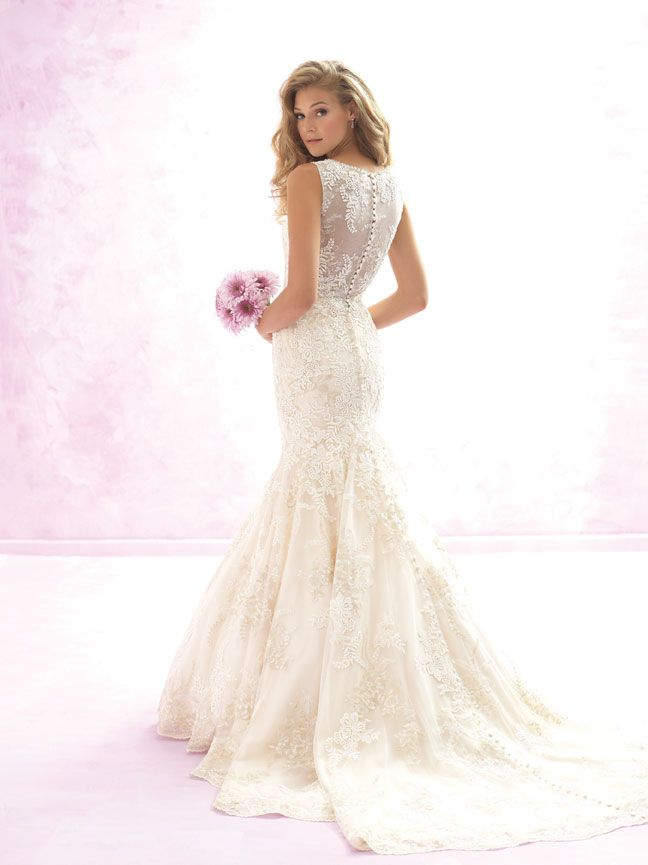 Madison James MJ100 - A dual layer of floral embroidery adds gorgeous texture to this sweet fit-and-flare gown. Vintage Style Bridal Gowns | Brides of Melbourne