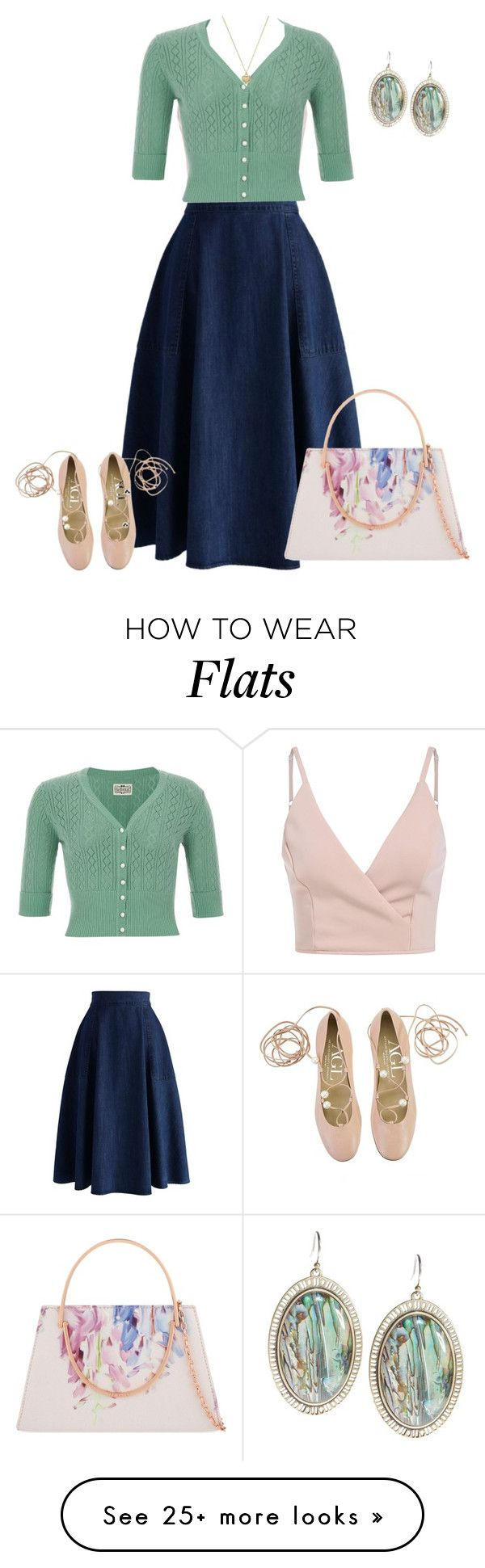 """""""Denim skirt & flats"""" by sherlynd on Polyvore featuring Chicwish, Attilio Giusti Leombruni, Ted Baker, Lucky Brand and Michael Kors"""