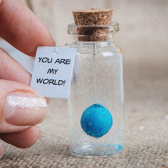 Message in a bottle You are my world Personalized gift for boyfriend I love you Tiny gift girlfriend
