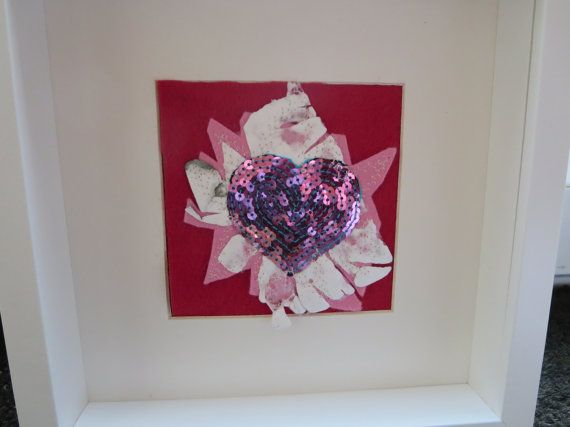 c14260d9f424243f812b7650d0fb50a7 pounds heart pictures - Heart Picture Textile Art Mixed Media Heart by KBrownJewellery, £28.00 www.kbro...