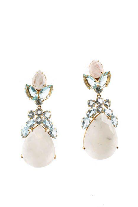 Bounkit Moonstone Blue Crystal Gold Tone Convertible Drop Earrings Ebay Link