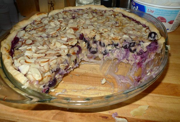 Blueberry Basil Goat Cheese Pie with almond topping – Recipe from Diners, Drive-ins & Dives (3 Sisters Cafe)