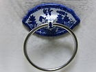 WHITE & BLUE WILLOW BATH, HAND TOWEL RING HANGER HOLDER ASIAN ORIENTAL PAGODA