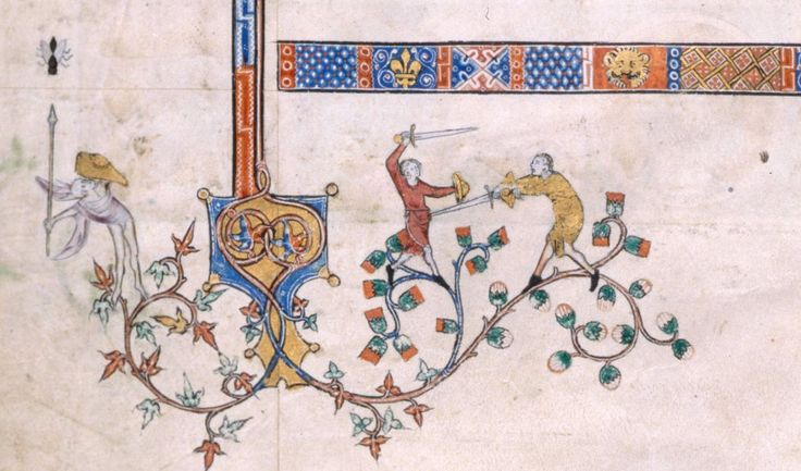 Swordfights and spearing what looks like a giant fly, early 14th century.
