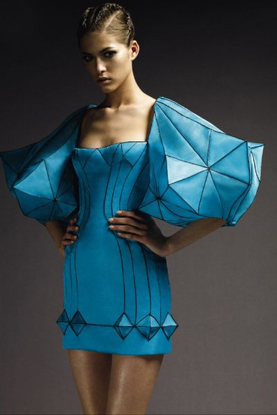 Loving the futuristic hexagon/expressive shape fashion...