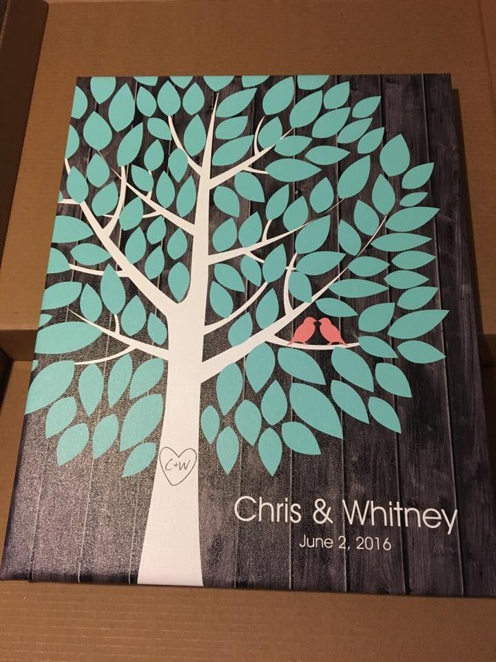 Darkwood Wedding Tree Canvas | Guest Book Alternative | 100 Signature Spaces | Rustic Wedding | Customer Photo | Wedding Colors - Teal & Pink | peachwik.com