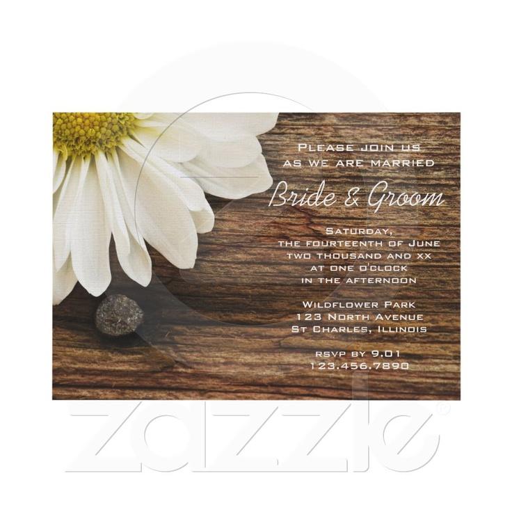 White Daisy Wedding Invitation: White Daisy And Barn Wood Country Wedding Invite