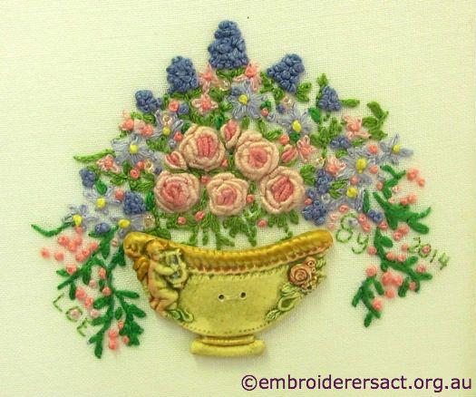 Vase of flowers by lara espeland Вышивка гладью рококо