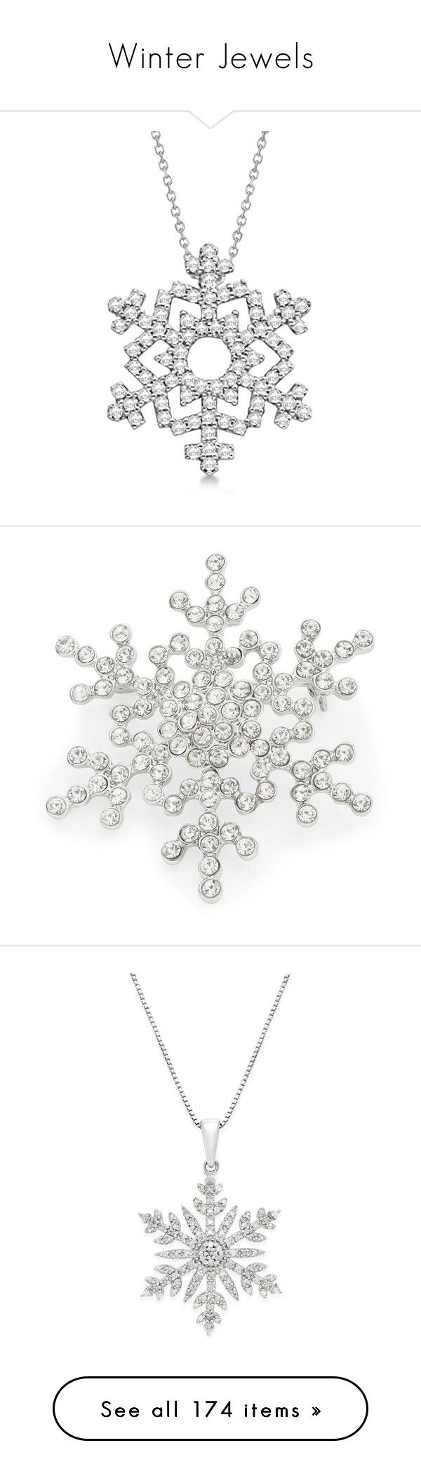 """""""Winter Jewels"""" by christy-leigh-1 ❤ liked on Polyvore featuring jewelry, necklaces, 14k diamond pendant, white gold necklace, 14k white gold pendant, white gold chain necklace, pendants & necklaces, brooches, silver and r.j. graziano"""