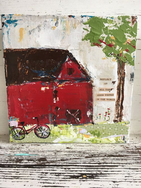 Red barn 8 x 8 gallery wrapped canvas by sunshinegirldesigns