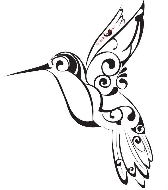 Tribal Hummingbird Tattoo Stencil