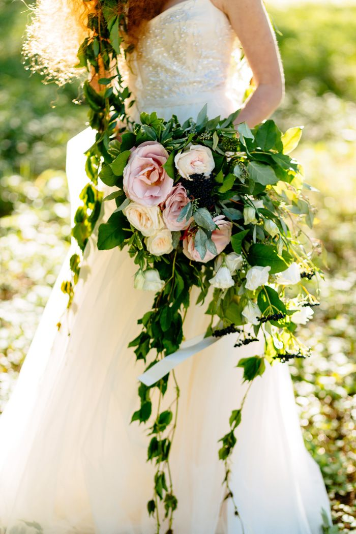 Bridal Bouquet | Styled Wedding Inspiration Shoot: Enchanted Forest via Grey Likes Weddings