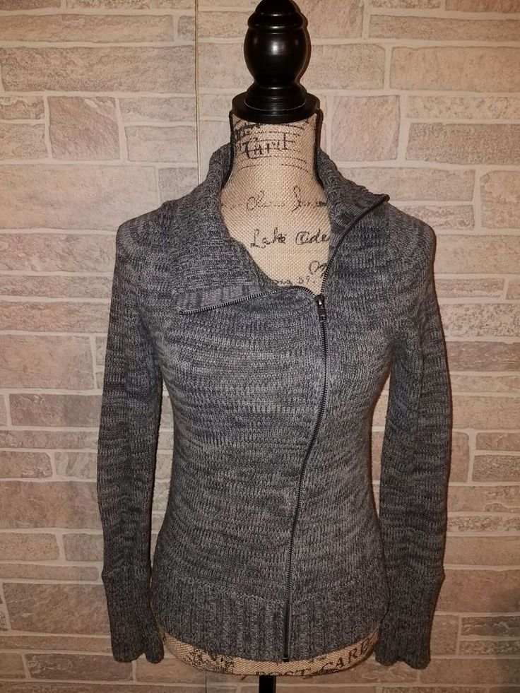 VICTORIA'S SECRET MODA Moto Sweater Jacket Gray Sz Small Full-Zip Assymetrical    Clothing, Shoes & Accessories, Women's Clothing, Sweaters   eBay!