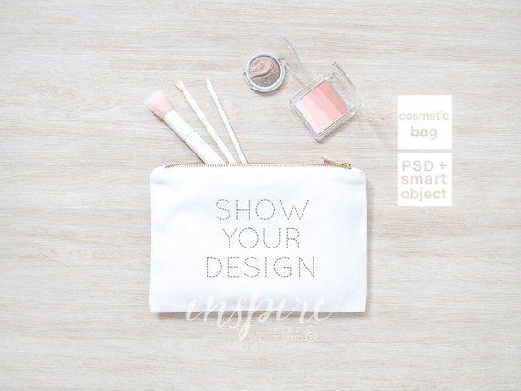 Download Make Up Bag Mockup Add Your Design Zippered Canvas Etsy Bag Mockup Your Design Cosmetic Purse