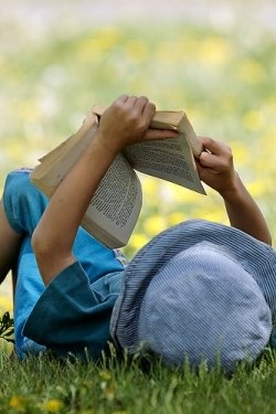 One of my favorite summer activities is to go out, spread out a blanket under the shade of a tree, take a stack of books with me, and read for as long as there's light.