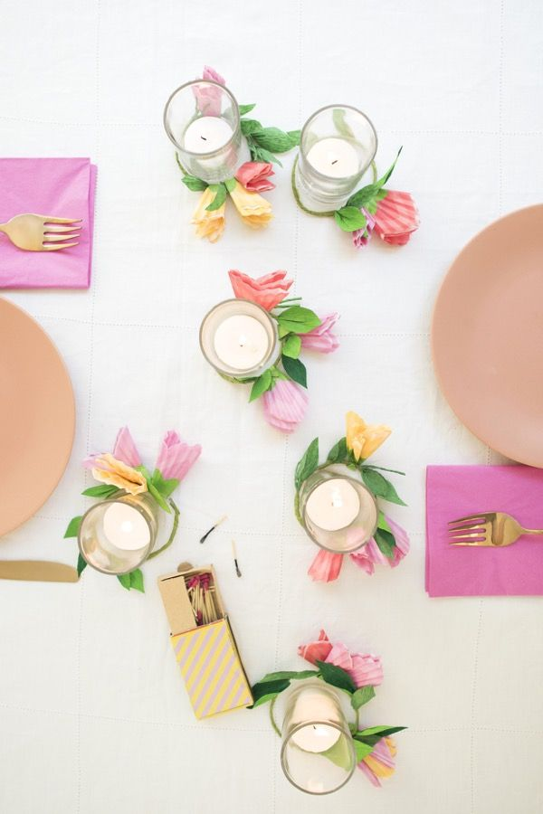 Cupcake Wrapper Flower Votives DIY | Oh Happy Day!