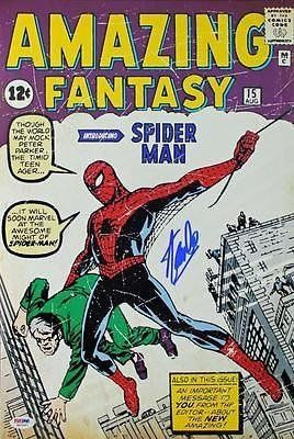 Stan Lee Signed 12X18 Photo Of Amazing Fantasy 15 Comic Spider-Man - P @ niftywarehouse.com #NiftyWarehouse #Spiderman #Marvel #ComicBooks #TheAvengers #Avengers #Comics