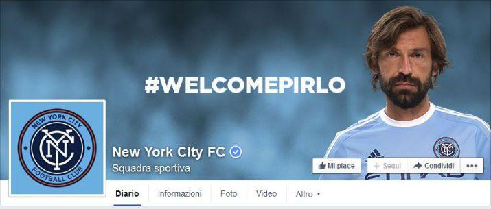Andrea Pirlo sulla foto di copertina del Facebook del New Yor City FC