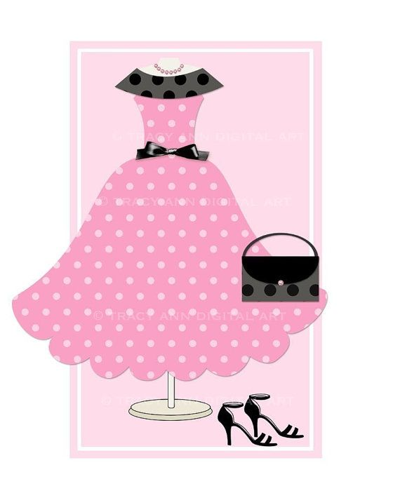 Pink Polka Dotted Dress, Purse & Heels
