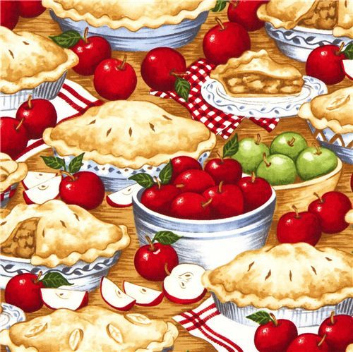 Timeless Treasures fabric with apple pies and apples