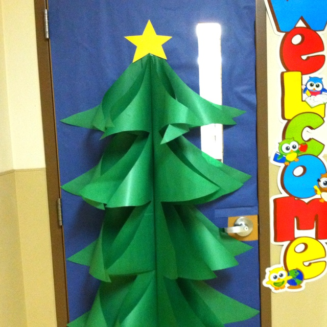 christmas tree door decoration made with butcher paper cool for school pinterest christmas christmas door decorations and classroom