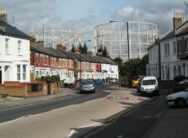 Disused Gasometers seen from Hornsey Park Road