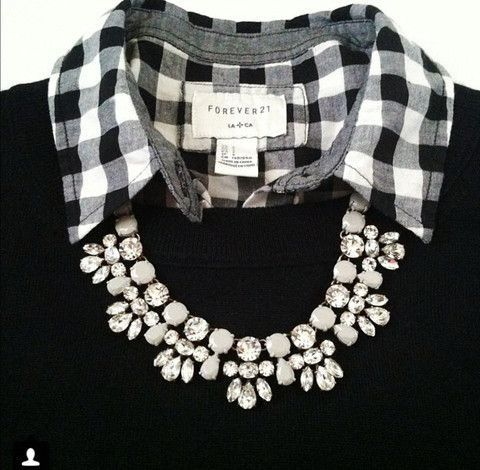 JW fashion, modest. Statement necklace. Checkered collar. Black sweater