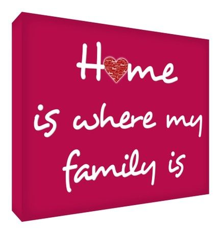 Feel Good Art Gallery Wrapped Box Canvas with Solid Front Panel (30 x 20 x 4 cm, Small, Raspberry, Home is where my Family is)