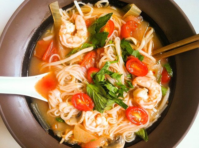 Pho Thai spicy and sour soup with shrimp, mushrooms, and refreshing basil, a quick and easy recipe for a cold dreary day. Author: Andrea Giang