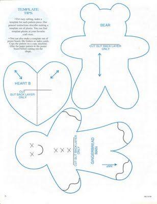 Gingerbread man, teddy bear, heart