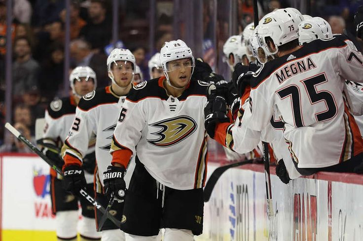 Brandon Montour #26 of the Anaheim Ducks celebrates his goal against the Philadelphia Flyers during the second period at Wells Fargo Center on October 24, 2017