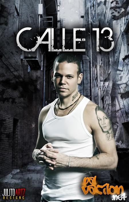 "Calle 13. Band of 3 siblings from Puerto Rico since 2004. Rene Perez Joglar, called ""Residente,"" Eduardo Cobra Martinez, called "" Visitante"" & Ileana Cobra Joglar, called ""pg."" Atlenative hip hop, rap & world music. Not Reggateon because of instruments used."