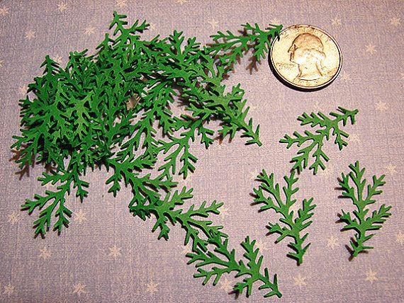120 Martha Stewart Green Winter Christmas Pine Fir Tree Branch Paper Punches Die Cut Embellishments