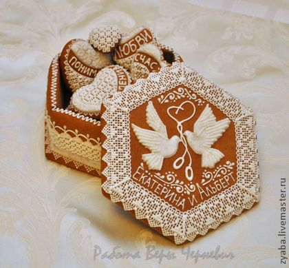 Свадебная пряничная шкатулка 16 см - белый,пряники,расписные пряники,имбирное печенье