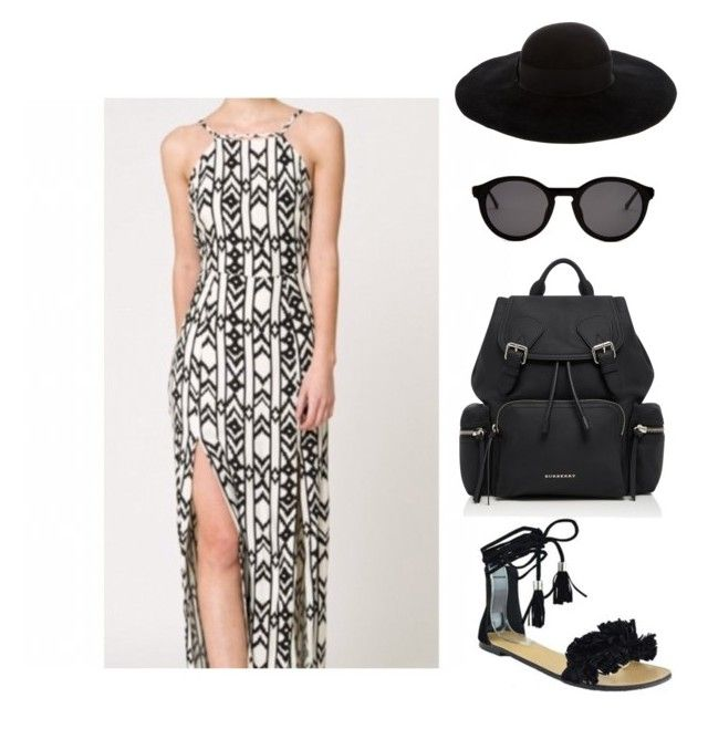 """""""Tribal Maxi dress 🖤"""" by latyra-williams ❤ liked on Polyvore featuring Eugenia Kim and Burberry"""