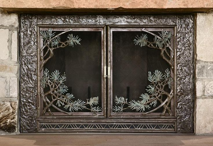 Pine Bough Fireplace Screen - sculpted bronze - perfect #rustic #fireplace #screen for my living room fireplace - tå√