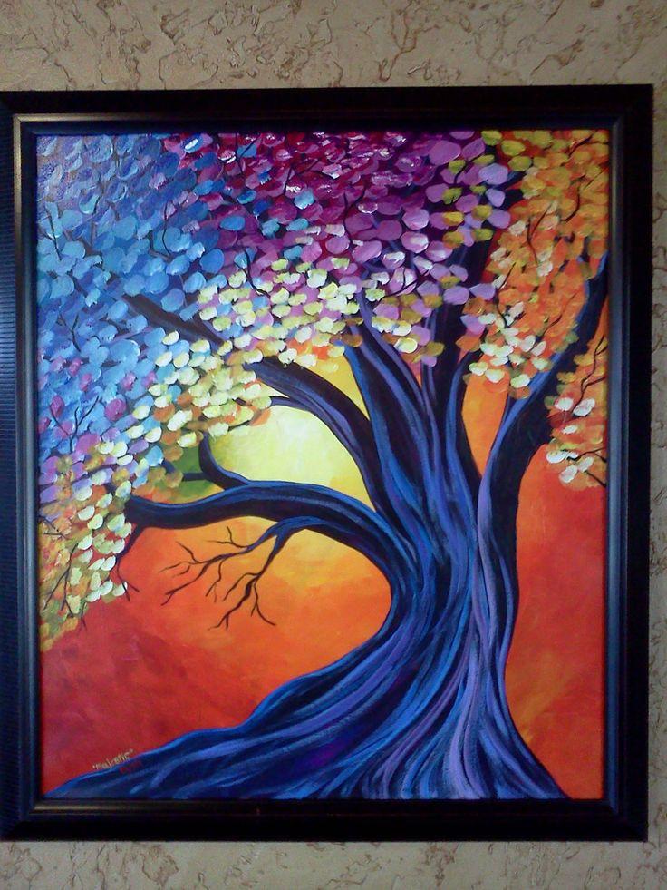 Large Contemporary Fantasy Tree Painting Acrylic on Canvas Framed. $175.00, via Etsy.