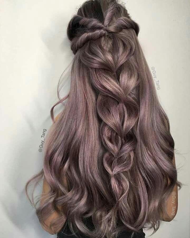 Ashy mauve hair with braids.                                                                                                                                                                                 More
