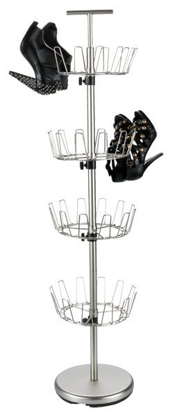 Store up to 24 pairs of shoes in a small amount of space with our 4-Tier Shoe Tree.  You can adjust the height between tiers for a custom fit.  The base is weighted for stability.  A handle at the top makes it portable.
