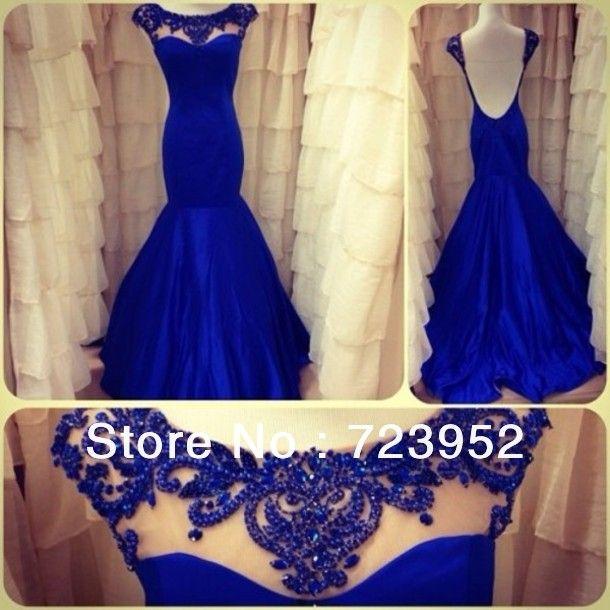 2014 Latest  Amazing Beading Rhinestone Scoop Silk Chiffon Royal Blue Mermaid Open Back Evening Dress Prom Weddings Events Gown  $259.00