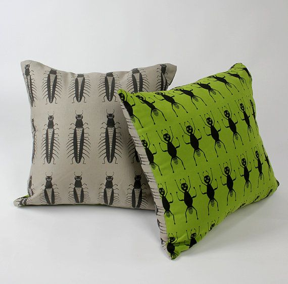 Big Bug Pillow Cover by ZoeEstKids: Big Bugs on one side, Ants on reverse! #Pillow_Cover #Insects