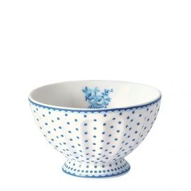 New GreenGate Stoneware French Bowl Spot Indigo Medium D 10 cm