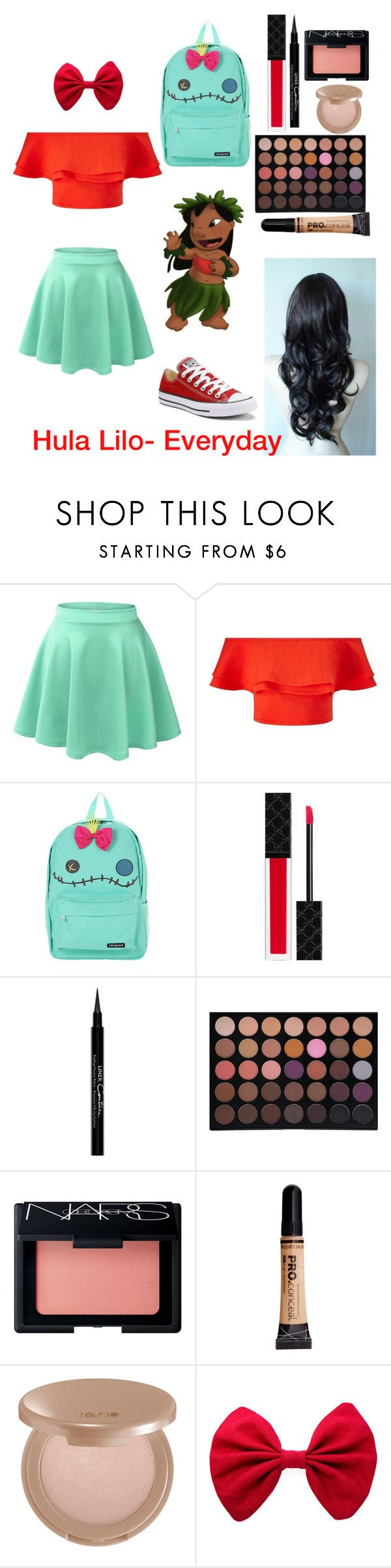 """Hula Lilo- Everyday"" by disneyfantasy ❤ liked on Polyvore featuring LE3NO, Miss Selfridge, Disney, Gucci, Givenchy, Morphe, NARS Cosmetics, tarte and Converse"